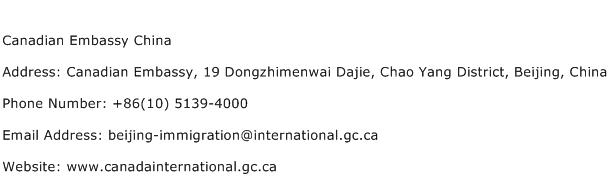 Canadian Embassy China Address Contact Number