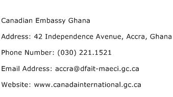 Canadian Embassy Ghana Address Contact Number