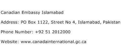 Canadian Embassy Islamabad Address Contact Number
