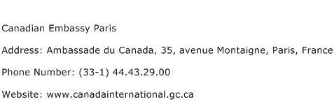 Canadian Embassy Paris Address Contact Number