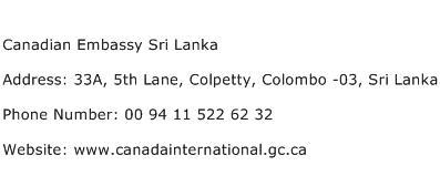 Canadian Embassy Sri Lanka Address Contact Number