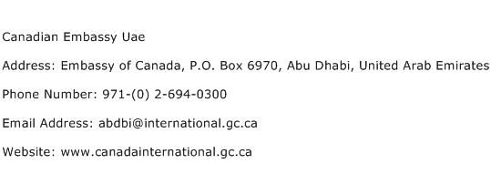 Canadian Embassy Uae Address Contact Number