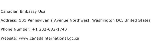 Canadian Embassy Usa Address Contact Number