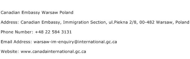 Canadian Embassy Warsaw Poland Address Contact Number