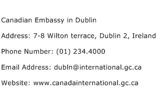 Canadian Embassy in Dublin Address Contact Number