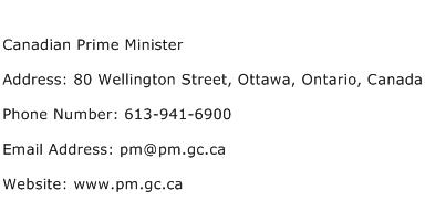 Canadian Prime Minister Address Contact Number