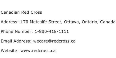 Canadian Red Cross Address Contact Number