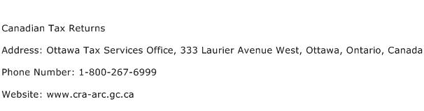Canadian Tax Returns Address Contact Number