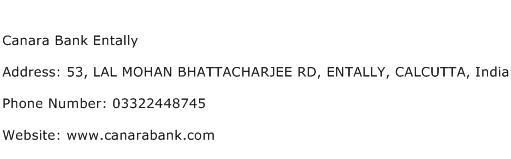 Canara Bank Entally Address Contact Number