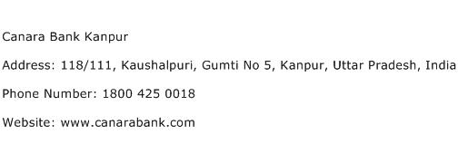 Canara Bank Kanpur Address Contact Number