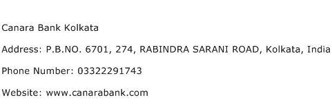 Canara Bank Kolkata Address Contact Number