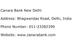 Canara Bank New Delhi Address Contact Number