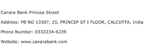 Canara Bank Princep Street Address Contact Number