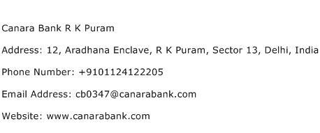Canara Bank R K Puram Address Contact Number