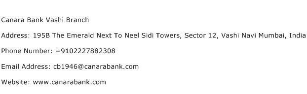 Canara Bank Vashi Branch Address Contact Number