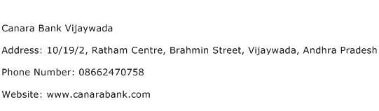Canara Bank Vijaywada Address Contact Number