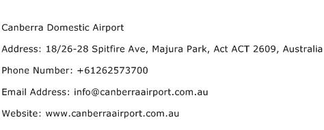 Canberra Domestic Airport Address Contact Number