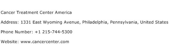 Cancer Treatment Center America Address Contact Number