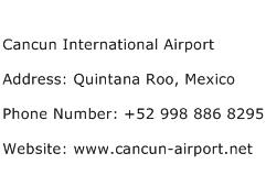 Cancun International Airport Address Contact Number