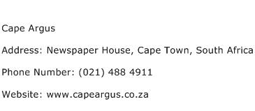 Cape Argus Address Contact Number