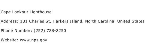 Cape Lookout Lighthouse Address Contact Number
