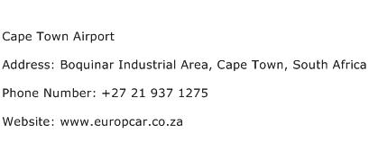 Cape Town Airport Address Contact Number