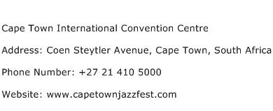 Cape Town International Convention Centre Address Contact Number