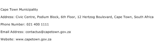 Cape Town Municipality Address Contact Number