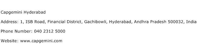 Capgemini Hyderabad Address Contact Number