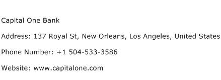 Contact Capital One >> Capital One Bank Address Contact Number Of Capital One Bank