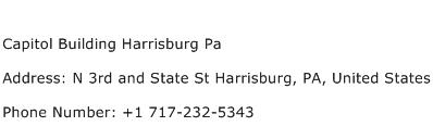 Capitol Building Harrisburg Pa Address Contact Number