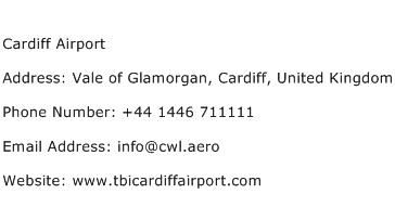 Cardiff Airport Address Contact Number