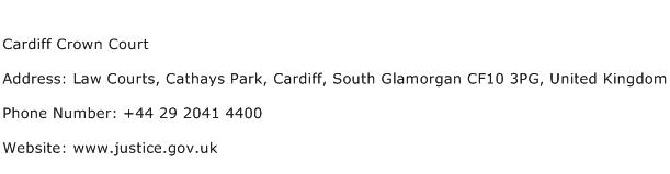 Cardiff Crown Court Address Contact Number