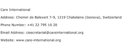 Care International Address Contact Number