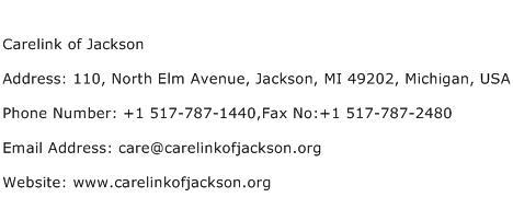 Carelink of Jackson Address Contact Number