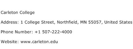 Carleton College Address Contact Number