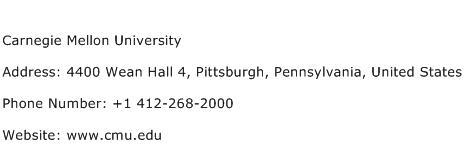 Carnegie Mellon University Address Contact Number