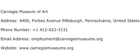 Carnegie Museum of Art Address Contact Number