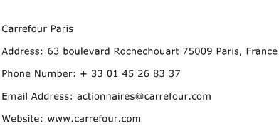 Carrefour Paris Address Contact Number