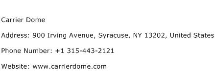 Carrier Dome Address Contact Number