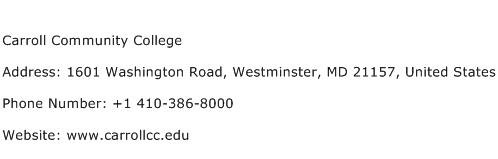 Carroll Community College Address Contact Number