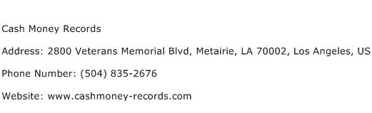 Cash Money Records Address Contact Number