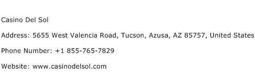 Casino Del Sol Address Contact Number