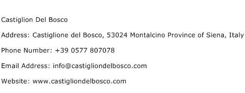 Castiglion Del Bosco Address Contact Number