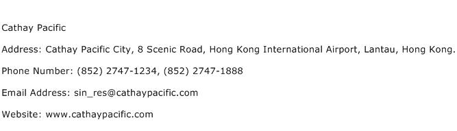 Cathay Pacific Address Contact Number