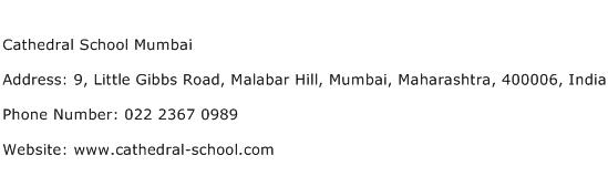 Cathedral School Mumbai Address Contact Number