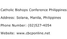 Catholic Bishops Conference Philippines Address Contact Number