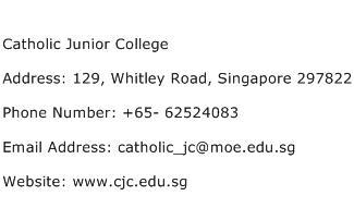 Catholic Junior College Address Contact Number