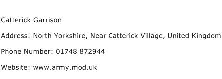 Catterick Garrison Address Contact Number