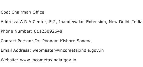 Cbdt Chairman Office Address Contact Number
